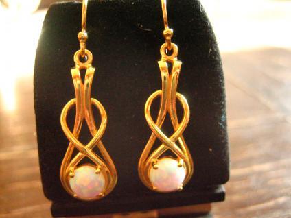 moderne sehr edle Opal Ohrringe Hänger 925er Silber vergoldet gold im antik Stil
