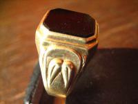 klassischer schöner Siegelring Herrenring Ring 585er Gold Onyx 21 mm RG 66