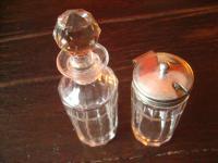 reizendes Gewürz Set Essigflasche / Ölflasche Senftopf Pressglas mit Schliff