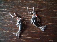 bezaubernde Fisch Fische Koi Karpfen Goldfisch Ohrringe Hänger 925er Silber neu