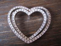 großer traumhaft romantischer Herz Anhänger mit Zirkonia 925er Silber 2 Herzen