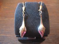 elegante Ohrringe Hänger 333er Gold + Weißgold Pampeln