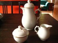 traumhaftes Kaffeeservice Teeservice Alt Fürstenberg Weiß gold Rose 6 Personen