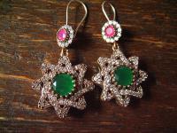 Kronjuwelen gesucht ? prächtige Smaragd Zirkonia Stern Ohrringe 925er Silber