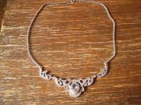 prächtiges 3teiliges Art Deco Collier Markasit und aquamarin Stein 925er Silber
