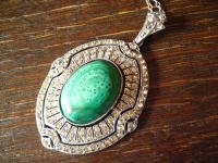 opulenter Art Deco Anhänger Malachit Collier Kette 835er Silber über 100 Steine