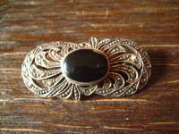 hübsche vintage Onyx Markasit Brosche 925er Silber im Art Deco Stil oval