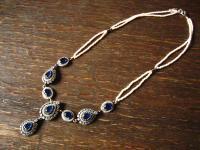 Kronjuwelen gesucht ? bezauberndes saphir zirkonia perlen Collier 925er Silber