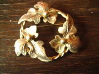 wunderschöne große Vintage Brosche 3 Efeu Blätter gold in der Art des Jugendstil
