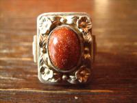 prächtiger Art Deco Ring mit Blüten und Goldfluss Handarbeit 900er Silber RG 51