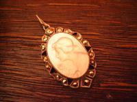 reizender Jugendstil Anhänger mit feiner Kamee Cameo Dame mit Rose 925er Silber