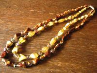 prächtiges Vintage Collier böhmisches Glas Glasperlen beige braun Aurora Borealis 2reihig