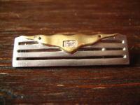 extravagante vintage Designer Brosche Krawattennadel 925er Silber bicolor Zirkon