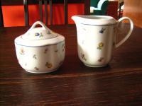 Ingres Weiß Form Marienbad Milch Zucker Milchkännchen Zuckerdose Streublümchen