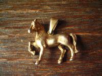 süßer Anhänger Pferd Pony Pferdchen 925er Silber gold Glücksbringer für Reiter