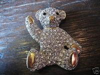 schöner großer vintage Strass Bär Brosche Teddy Teddybär Bärchen 80er Jahre