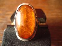 prächtiger Art Deco 835er Silber Ring mit großem Bernstein Unikat 17, 2 mm RG 54