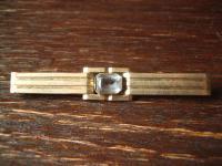 zeitlos elegante Art Deco Krawattennadel Stabbrosche gold Doublé aquamarin Stein