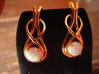 moderne sehr edle Opal Ohrringe Stecker 925er Silber vergoldet gold im antik Stil