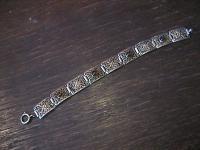 zartes Art Deco Armband feine Filigranarbeit 835er Silber topas rhombolit Steine