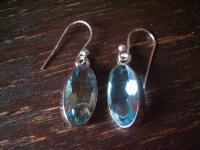 geschmackvolle Blautopas Ohrringe Hänger 925er Silber oval in aquamarin Farbe