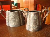 prächtiges antikes Milch & Zucker Set Milchkännchen Zuckertopf silber pl England