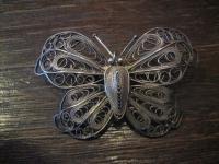 prächtige riesige Schmetterling Brosche feine Filigranarbeit Handarbeit Silber