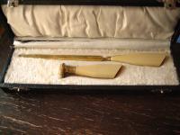 antikes Schreibtisch Set Petschaft + Brieföffner im Kästchen Bakelit Griffe