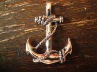 großer maritimer Anhänger Anker Pirat Seemann 925er Silber neu beidseitig