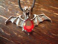 Fledermaus Vampir Anhänger blutroter Zirkonia 925er Silber neu et Nox red Bat