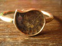 exklusiver vintage Designer Armreif Armspange 925er Silber vergoldet mit Ammonit