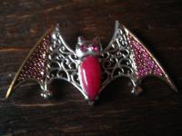 prächtiger großer Fledermaus Anhänger 925er Silber rubin roter Achat Gothic pur