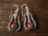 Kronjuwelen gesucht ? Prächtige Ohrringe Hänger Chandeliers 925er Silber Koralle