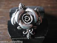 Traumhaft schöner Jugendstil Rosen Ring Rose mit Rosblättern 925er Silber 18 mm