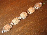 Trachtenschmuck Armband Münzarmband mit Medallion silber Schmuckmünzen 20 cm