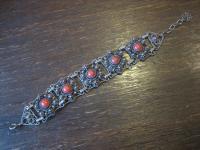 breites Jugendstil Armband 800er Silber rote Koralle Filigranarbeit 2, 5 cm breit