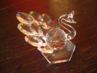 bezaubernde kleine Kristall Figur Pfau Miniatur aus Glas Prismen