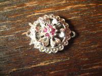 schöne vintage Schließe Schmuckschließe 835er Silber rote Steine für Perlenkette