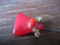 super schöne Art Deco Hutnadel leuchtend rot lange Nadel 22 cm lang Hat Pin