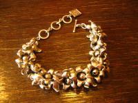 hinreißendes Statement Armband Glockenblumen Blüte Designer Leonardi Arte silber