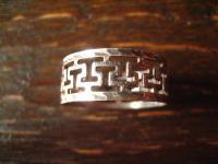 geschmackvoller zarter Vintage Designer Ring mit Mäander Band 925er Silber RG 59