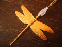 wunderschöne Designer Collier Kette Libelle 925er Silber vergoldet Rosenquarz