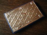 sehr elegantes Adressbuch Notizbuch echtes Leder 925er Silber Front unbenutzt
