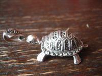 bezaubernder Schildkröten Anhänger Schildkröte 925er Silber Markasit plastisch
