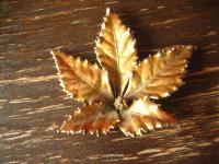 vintage Designer Brosche echtes Blatt Goldbronze signiert Nordens Flora Denmark