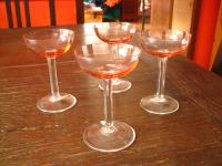 4 traumhaft schöne antike Likörgläser Likörglas mundgeblasen pink weiß
