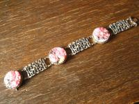 Art Deco Designer Armband 835er Silber Rhodochrosit Rhodonit naturbelassen 21 cm