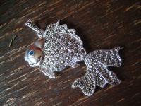 prächtiger Markasit Anhänger Goldfisch Schleierfisch 925er Silber beweglich