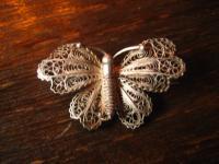 süße filigrane Jugendstil Schmetterling Falter Motte Brosche 800er Silber Unikat