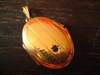 klassischer nostalgischer Jugendstil Medallion Anhänger gold Doublé für 2 Fotos